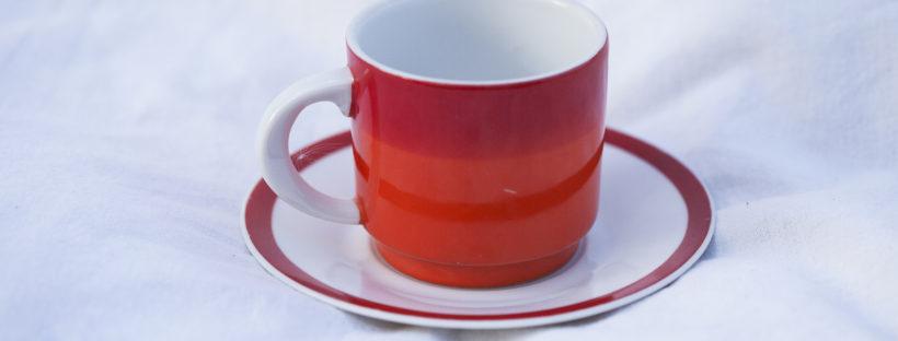 Röd kaffekopp 70-tal