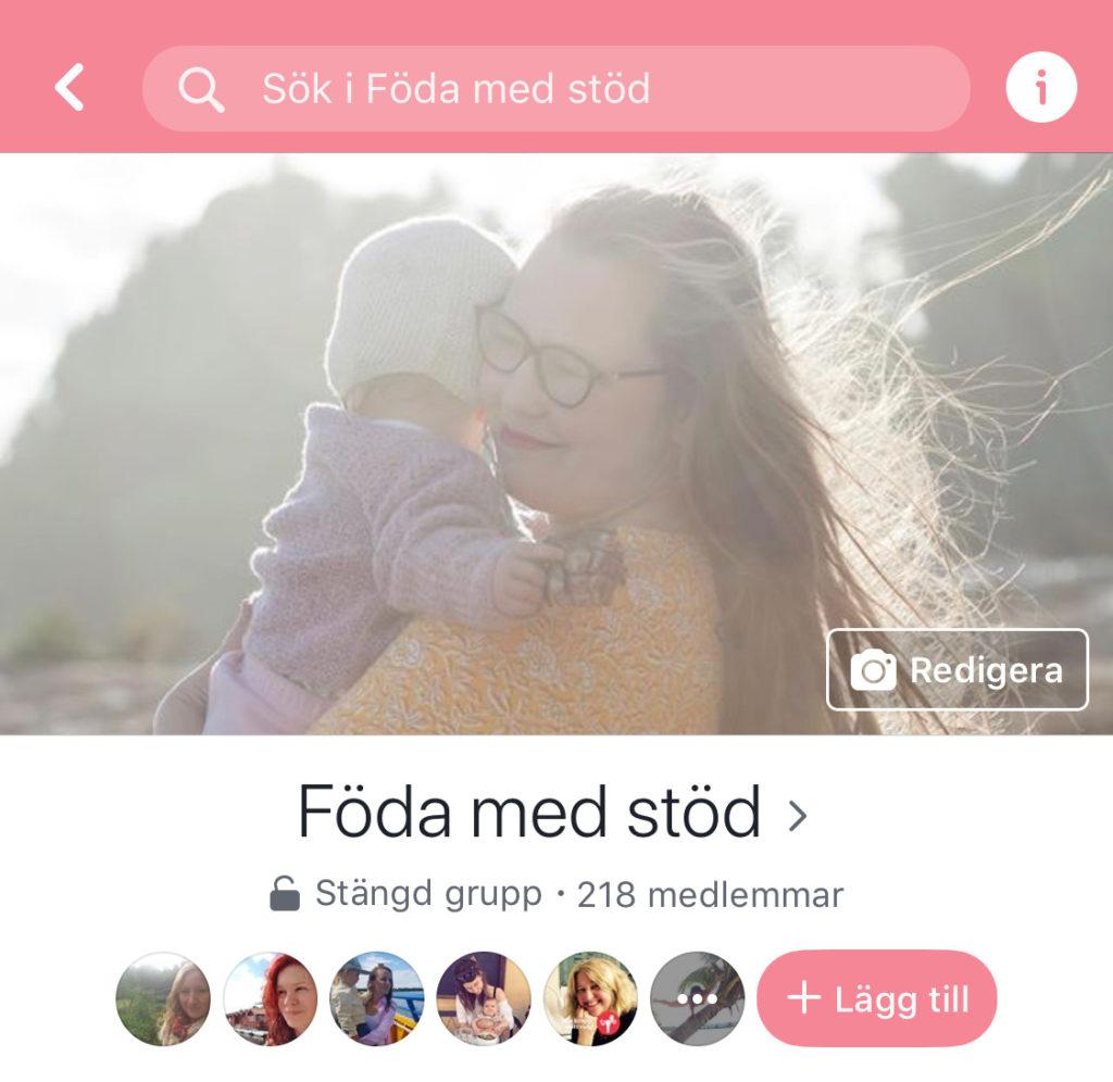 En facebookgrupp om att föda med stöd